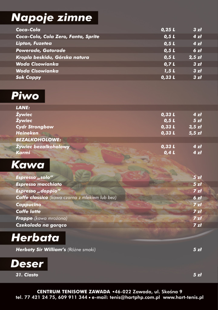 Menu Tenis Pizza 2018